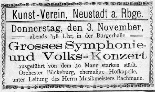Grosses Symphonie- und Volkskonzert des Kunstvereins Neustadt am Rübenberge
