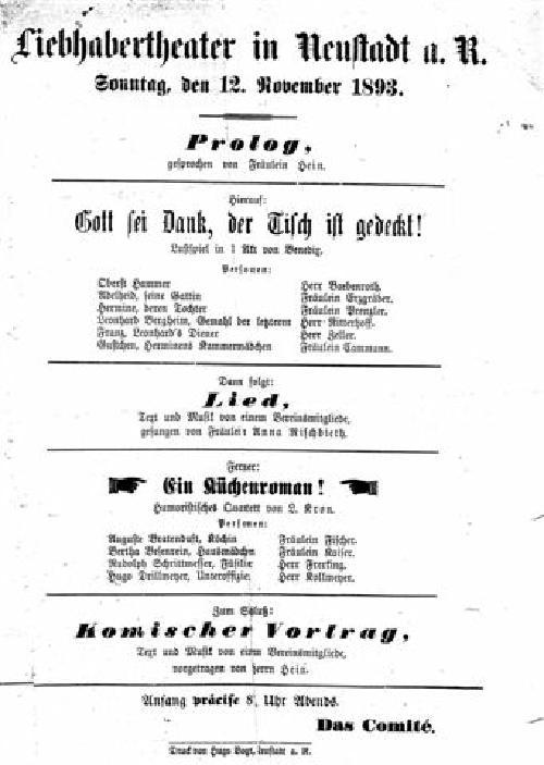 Das Liebhabertheater in Neustadt (Aus dem Regionsarchiv Hannover in Neustadt, aus Nachlass Baebenroth)