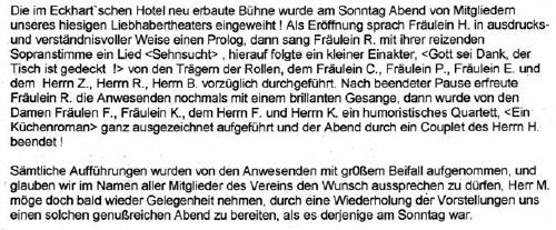 Reaktion der Presse zum Liebhabertheater (Aus der Leinezeitung übertragen von Frau Kattmann , Regionsarchiv Hannover in Neustadt)