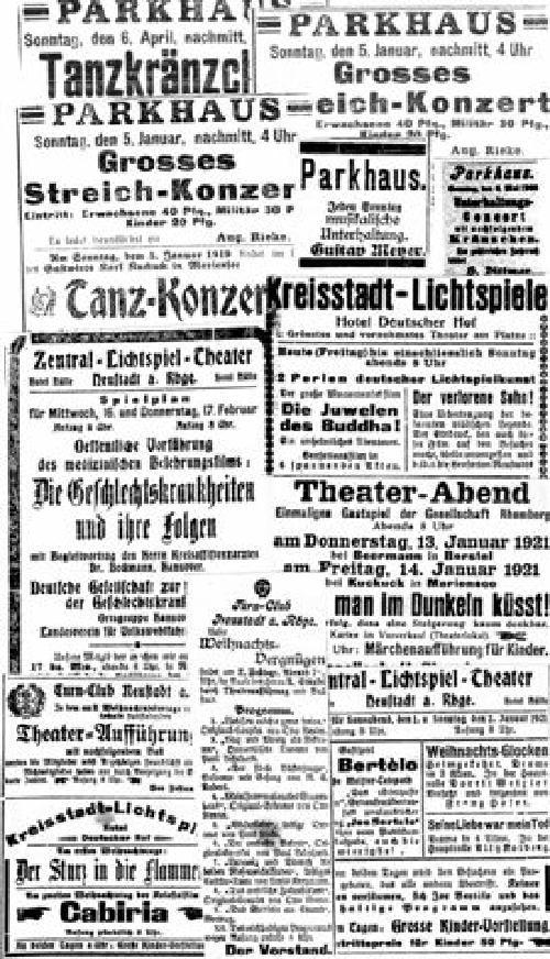 Auswahl aus Kino- und sonstigen Veranstaltungen (Annoncen in der Leinezeitung ca. 1900 bis 1921)