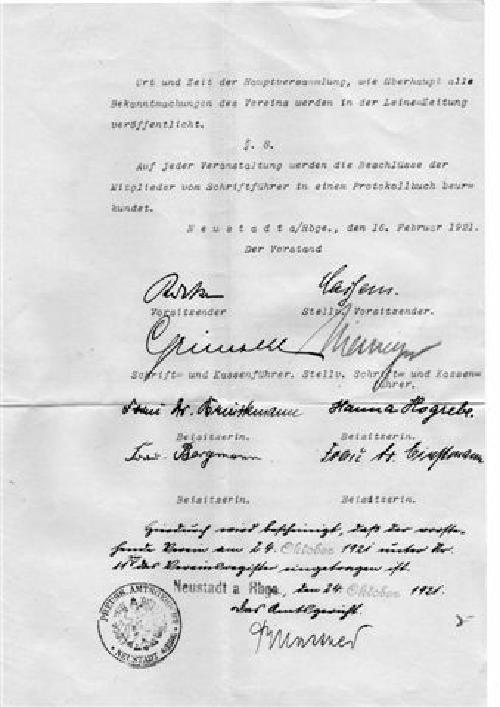 Letzte Seite der Original-Gründungsurkunde mit Eintragungsbestätigung des Amtsgerichts