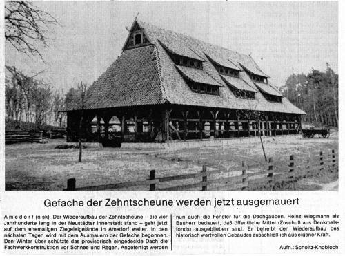 Über das Gefach der Zehntscheune beim Wiederaufbau in Amedorf: Leinezeitung vom 31.3.1981