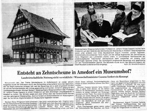 Die Diskussion um ein Museumsdorf oder Museumshof in Amedorf entfachte (Leine Zeitung vom 6.//. Februar 1982)
