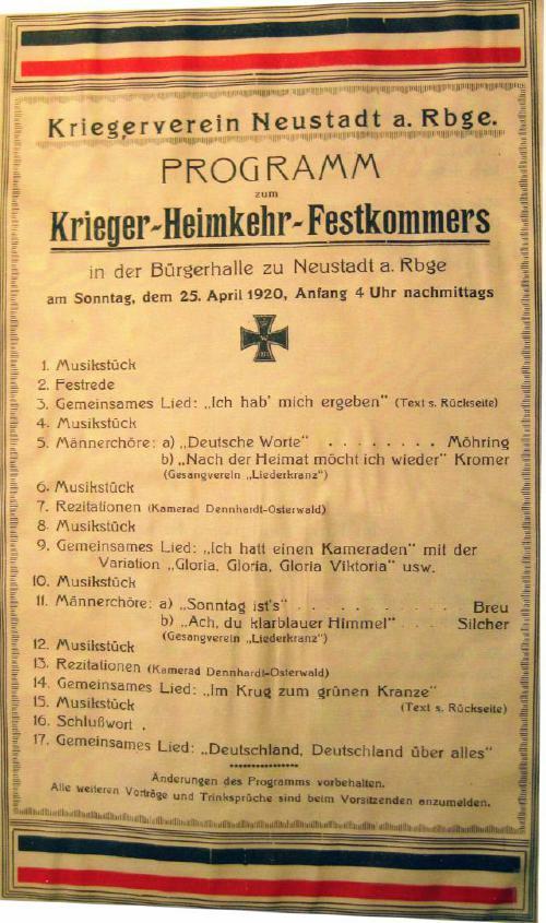 Programm des Kriegerverins Neustadt am Rübenberge für ein Festakt im Jahre 1920