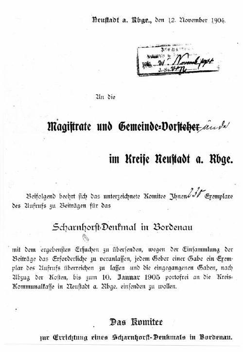 Spendenaufruf für die Errichtung des Scharnhorst-Denkmals in Bordenau