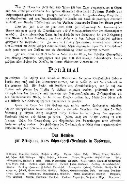 Das Komittee beschließt und begründet die Errichtung des Scharnhorst Denkmals