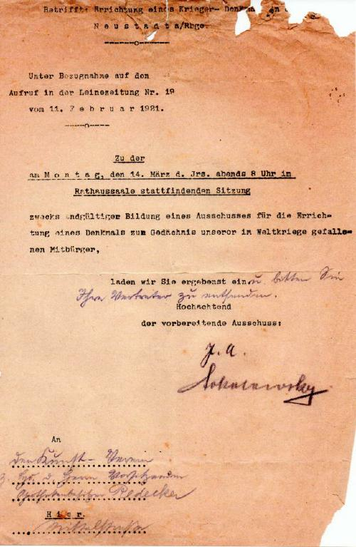 Gruendung eines Ausschusses für die Errichtung eines Denkmals (Reg Arch Han NRÜ II 298)