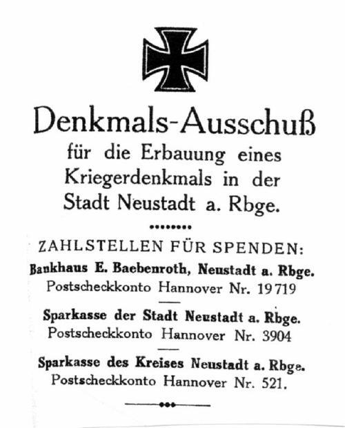 Briefkopf des Denkmals- Ausschusses von Neustadt am Rübenberge zur Errichtung eines Kriegerdenkmals von 1925 (Reg Arch Han NRÜ II 1508)
