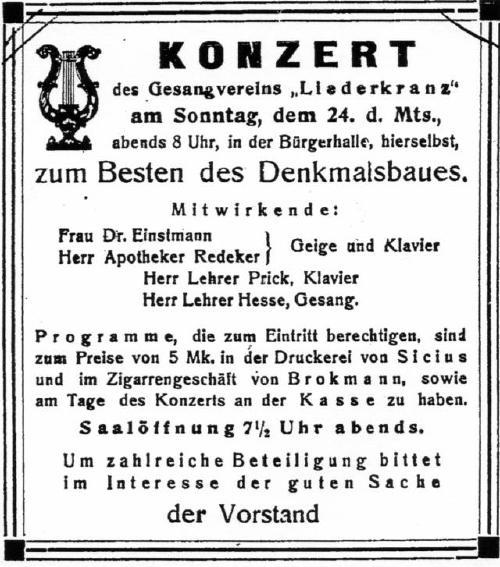 Konzert zum Sammeln von Geldern und Spenden für die Errichtung eines Kriegerdenkmals in Neustadt (Quelle: Leinezeitung)