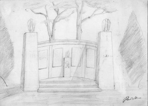 Vorschlag von Dietrich Redeker für ein Kriegerdenkmal 1921 (Aus Privatbesitz S. Moldenhauer, jetzt im Reg .Arch. Han.)