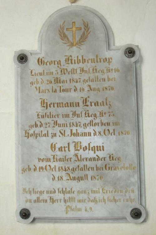 Gedenktafel für die Gefallenen des Feldzuges von 1870/71 in der Liebfrauenkirche (Foto Dyck 2002)