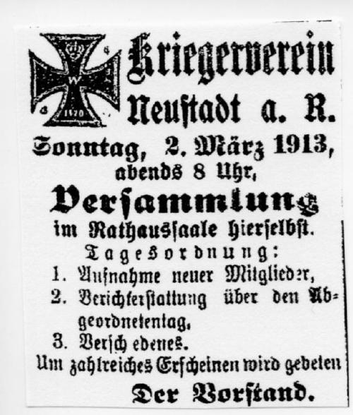 Versammlung des Kriegervereins Neustadt am Rübenberge 1913