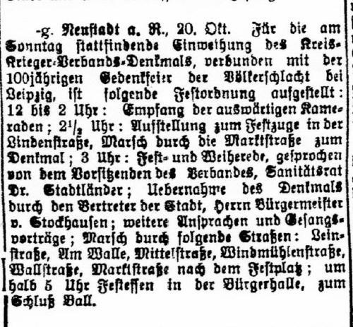 Auch in Neustadt wird die Einweihung des Völkerschlachtdenkmals zu Leibzig gefeiert.