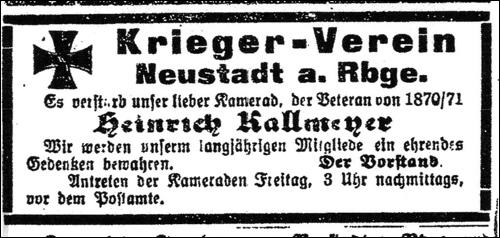 Der Kriegerverein -  Leinezeitung vom 17.März 1921