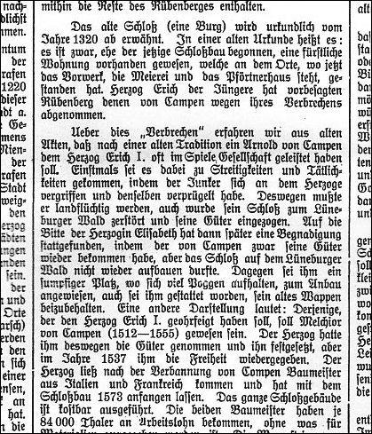 """So erklärt der Oberstadtsekretär i. R. F Plinke die Vorgänge zwischen Erich I. und denen von Campen (Quelle: Auszug aus einem Aufsatz von Plinke in der 50- Jahr- Jubiläumsausgabe der Leinezeitung 1931 """" Aus der Geschichte der Stadt Neustadt"""")"""