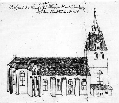 """Die Liebfrauenkirche in Neustadt am Rübenberge um 1730 (Quelle: """"Die Kunstdenmale des Landes Niedersachsen"""", 1958)"""