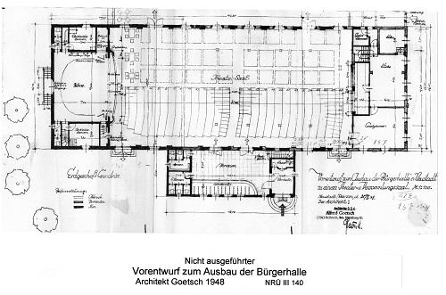 Ursprünglicher Vor-Entwurf der neuen Bürgerhalle
