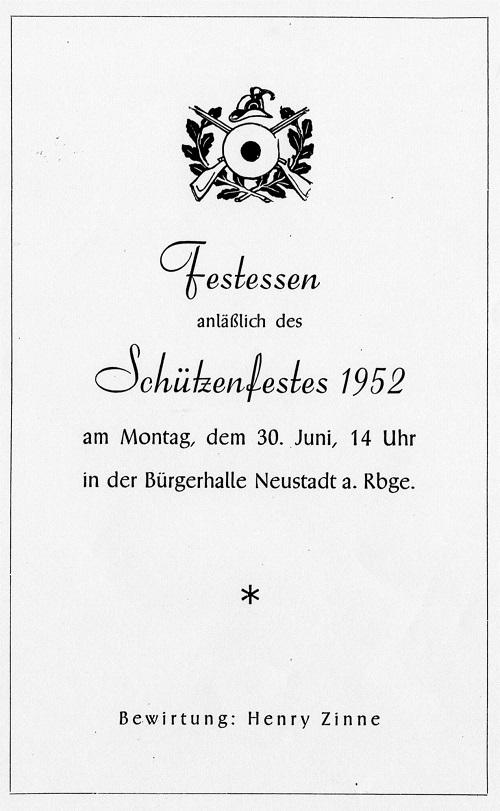 Einladung zum Festessen anläßlich des Schützenfests 1952 in Neustadt am Rübenberge
