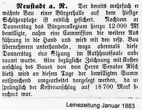Leinezeitung vom Januar 1883