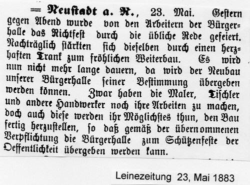 Leine Zeitung vom Mai 1883