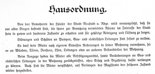 Auszug aus der Hausordnung (Reg. Arch. NRÜ II 1314)