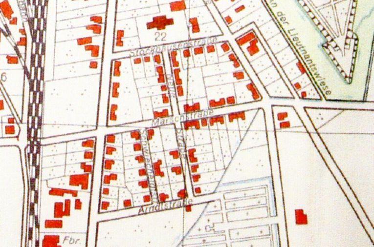 Ausschnitt aus einem Stadtplan von Neustadt am Rübenberge von  1951 (Reg Arch NRÜ III 115)