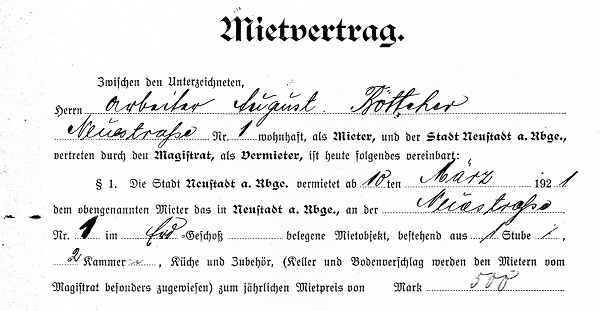 Auszug aus einem Mietvertrag (Reg. Arch. NRÜ II 1314)