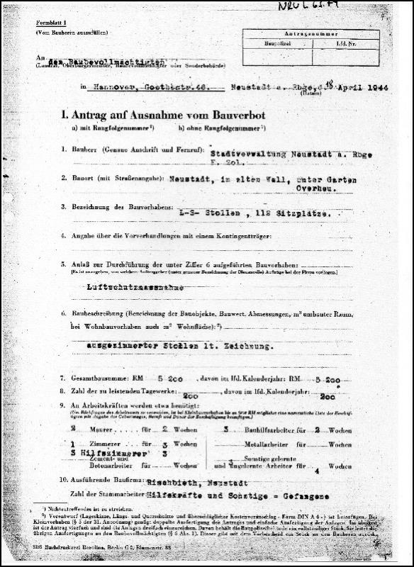 Antrag auf Ausnahme des Bauverbots: Bau der Bunkeranlage im Alten Wall in Neustadt.
