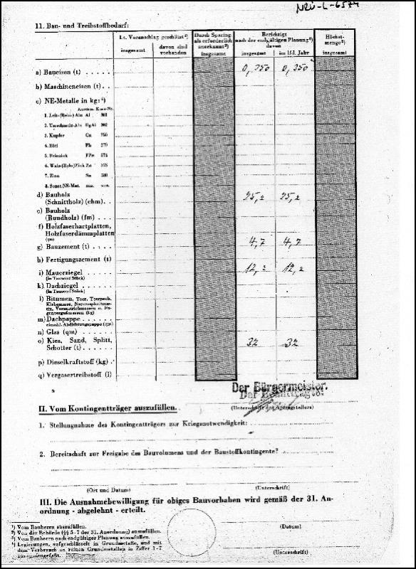 Teil 2 des Antrags zum Bau des Bombenschutz Bunkers in Neustadt am Rübenberge