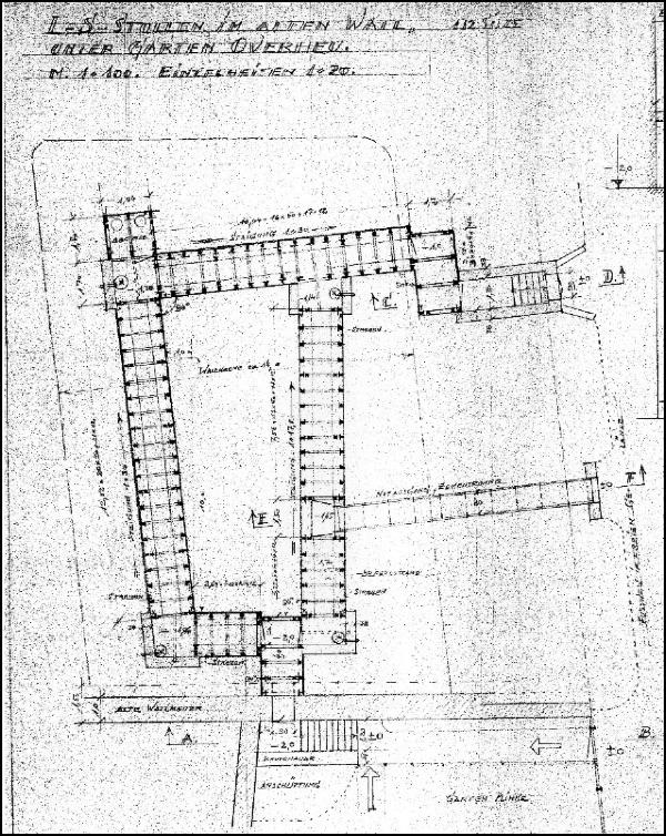 Lageplan des Luftschutzbunkers unter dem Alten Wall in Neustadt am Rübenberge