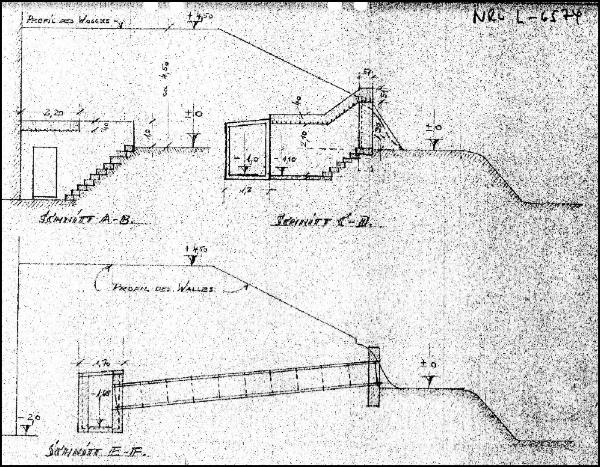 Detailzeichnung der Zugänge und Fluchtwege des Luftschutzbunkers unter dem Alten Wall in Neustadt am Rübenberge