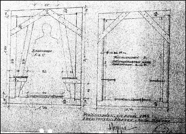 Detailzeichnung der Stollen- Aussteifung des Bunkers unter dem Alten Wall