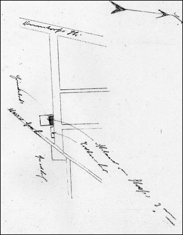 Lageplanskizze des Erdbunkers an der Arndtstraße