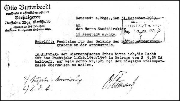Schriftstück zur Pacht des Luftschutzdeckungsgrabens - nach dem Krieg 1949