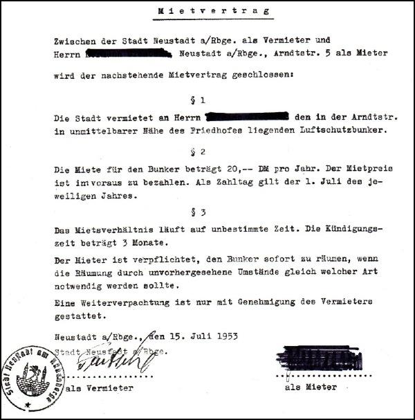 Dokument über die Miete des Bunkers 1949