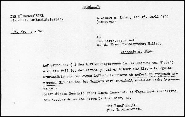 Beschlagnahmebescheid des Kirchengrunds zum Bau eines Luftschutzbunkers neben der Liebfrauenkirche in Neustadt
