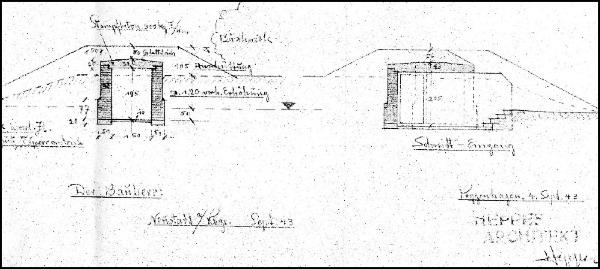 Detailzeichnungen für den Weltkrieg- Bunker am Krankenhaus in Neustadt am Rübenberge