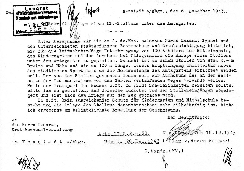Antrag auf Unterbringung von Schülern im Luftschutzkeller unter dem Amtsgarten in Neustadt am Rübenberge.