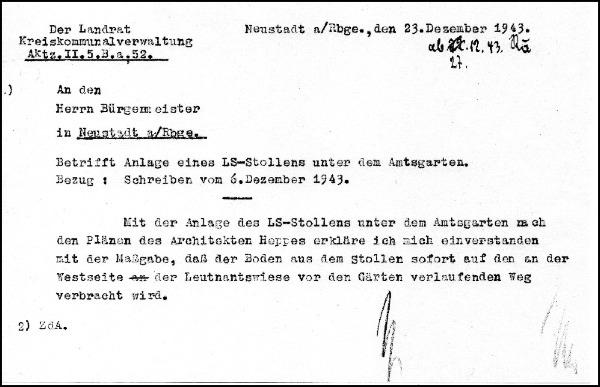 Dokument über die Anlage eines Luftschutzstollens unter dem Amtsgarten in Neustadt