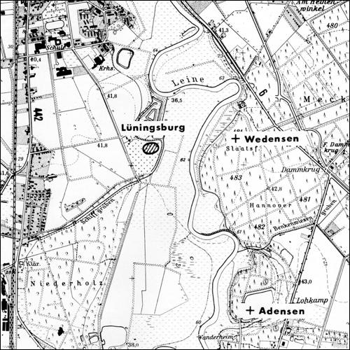 Umgebung der Lüningsburg mit Eintrag der spätmittelalterlichen Wüstungen (Aus Heine u. Steinau. Die Lüningsburg)
