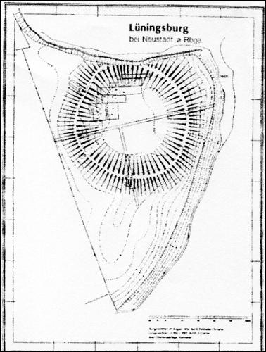 """Topographischer Plan mit Eintragung der Grabungsschnitte1934, 1975, 1981/82 aus """"Museum zur Stadtgeschichte"""""""