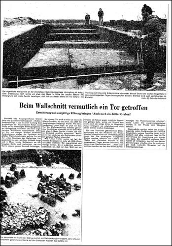 Über die Grabungsarbeiten berichtet die Leinezeitung am 1. Mai 1975