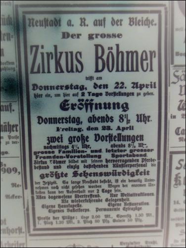 """Zirkus Böhmer """"auf der Bleiche"""""""