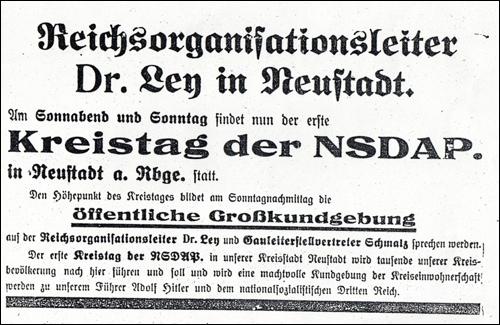 Kreistag der NSDAP und öffentliche Großkundgebung der Nationalsozialisten in Neustadt am Rübenberge