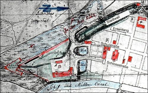 Lageplan der ehemaligen Bleiche in Neustadt am Rübenberge. Vescas, 1757.