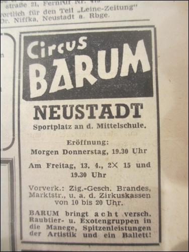 Anzeige des Zirkus Barium