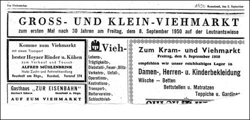 """Viehmarkt in Neustadt! Anzeige vom 2.September 1950 in """"Der Niedersachse"""""""