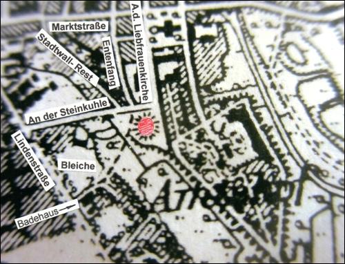 Auf der Grundkarte von 1898 ist das Gelände der sogenannten Bleiche markiert.