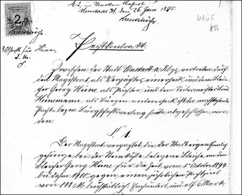 Ausriss aus dem Pachtvertrag vom 26. Januar 1895 (NRÜ II 856)