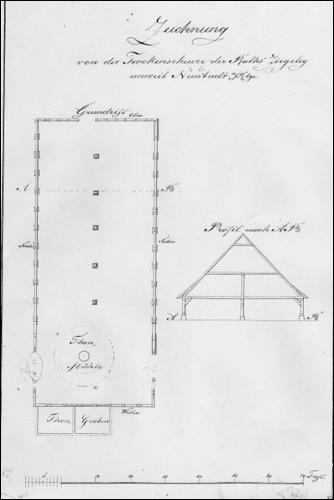 Historische Zeichnung der Trockenscheune der Ziegelei